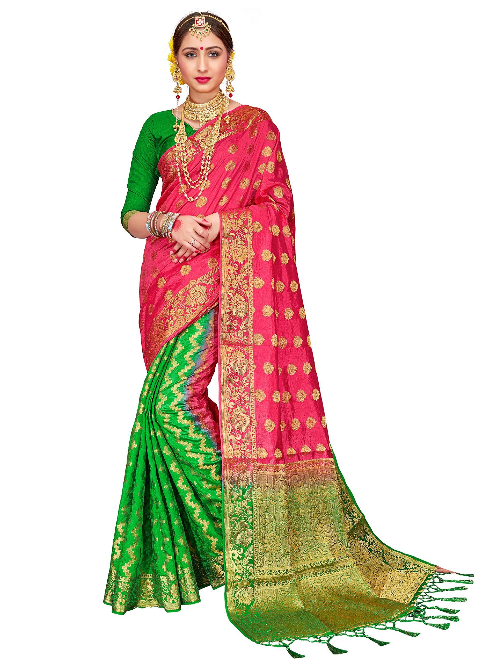 ELINA FASHION Sarees for Women Banarasi Art Silk Woven Work Saree l Indian Wedding Ethnic Wear Sari & Blouse Piece (Pink 2)