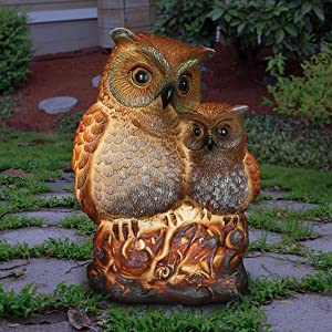 Exhart Night Owlets Garden Statue - Hand-Painted Pair of Owls Statue (Owlets) w/Solar Decor Lights Provide Solar Outdoor Glow for an Owl Decor Themed Whimsical Home Garden, 4.9
