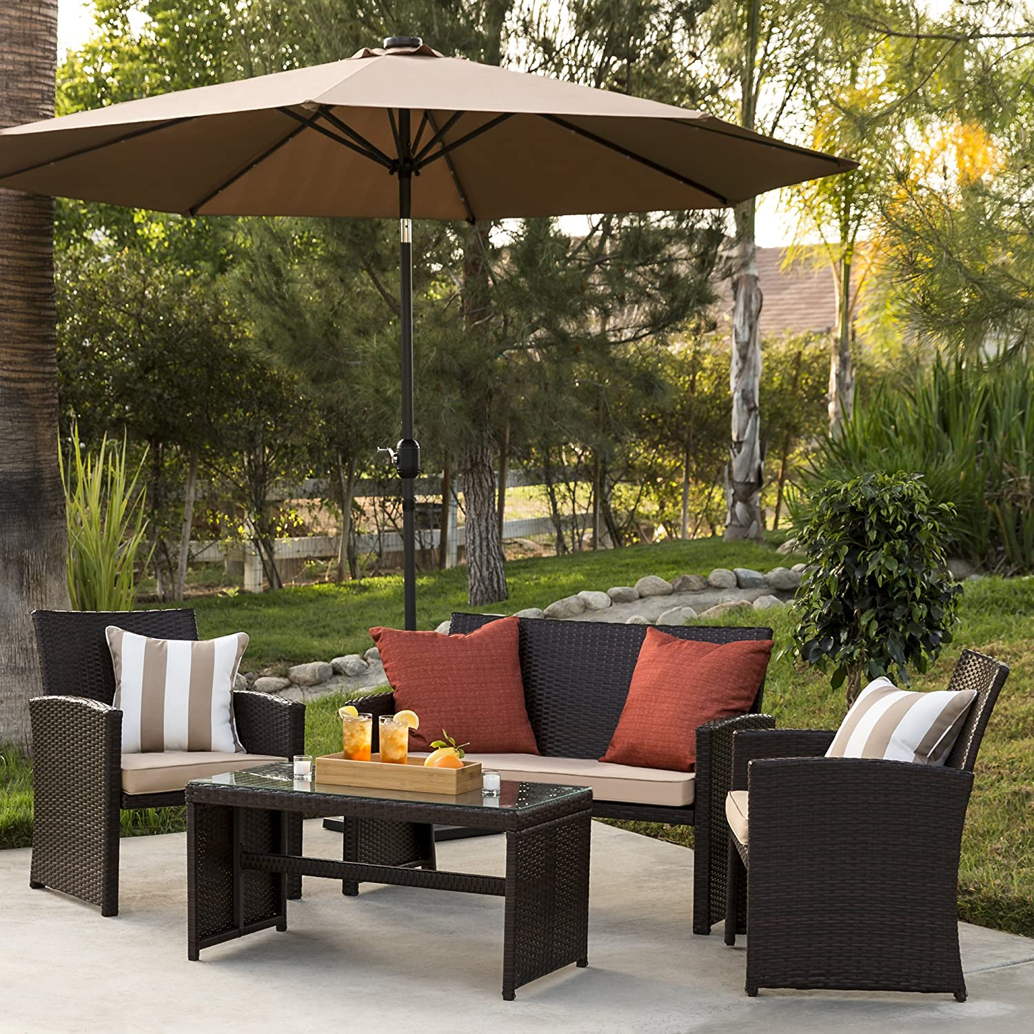 Amazon com best choice products 4 piece wicker patio furniture set w tempered glass 3 sofas table cushioned seats brown garden outdoor
