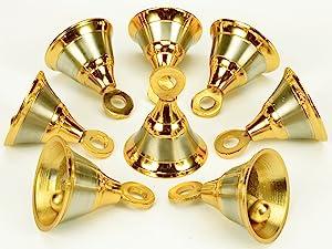 "Lot 6 Pcs Indian Vintage Style Brass Two Tone Bells Door Home Décor 1.8""Ht"