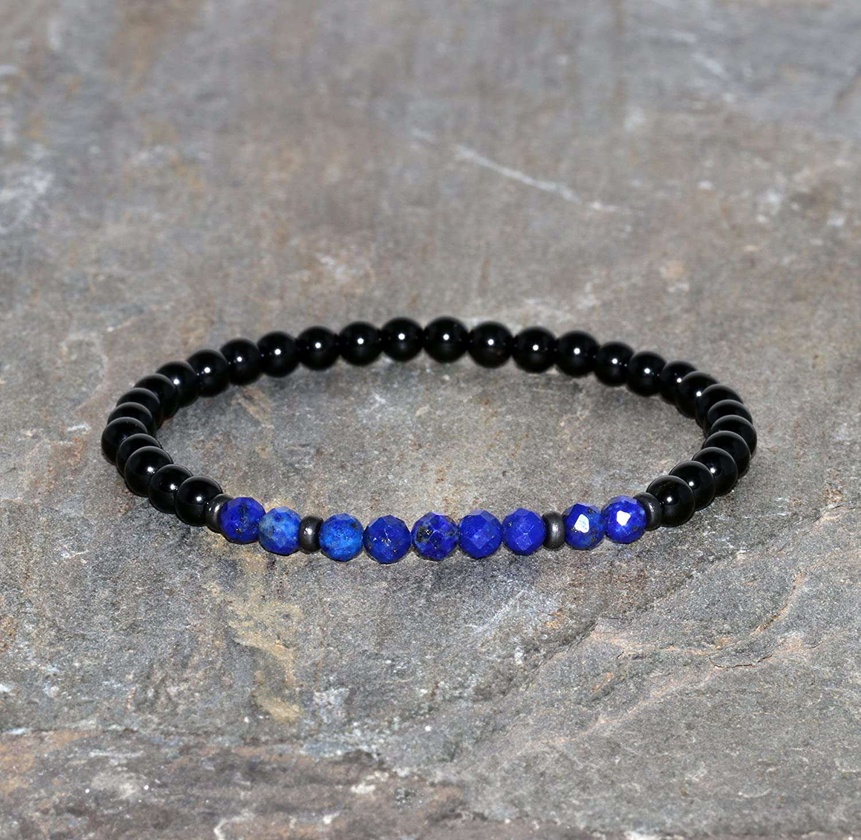 Pulsera de Lapislázuli Facetado Azul de 4 mm y Espinela Negra de 4 mm Pulsera de Piedras Preciosas Naturales Cuentas de Lapislázuli y Espinela Pulsera Unisex de Grado AAA