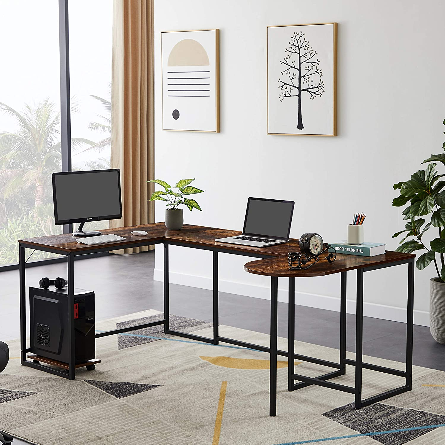 Merax U-Shaped Computer, Industrial Corner Writing CPU Stand, Gaming Table Workstation Home Office Desk, 78.7