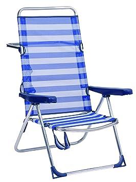 Alco-670ALF-0056 Silla Playa Alta, fibreline, Color Rayas Azules y Blancas, 95x65.5x13.5 cm (1-670)