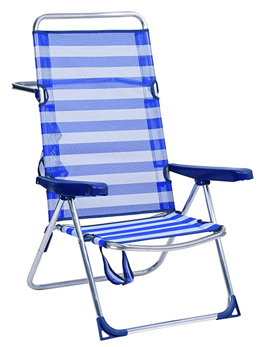 Alco-670ALF-0056 Silla Playa Alta, fibreline Color Rayas Azules y Blancas 95x65