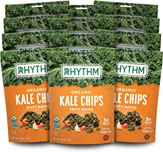 product image for Rhythm Superfoods Kale Chips, Zesty Nacho, Organic and Non-GMO, 2.0 Oz (Pack of 12) Vegan/Gluten-Free Superfood Snacks