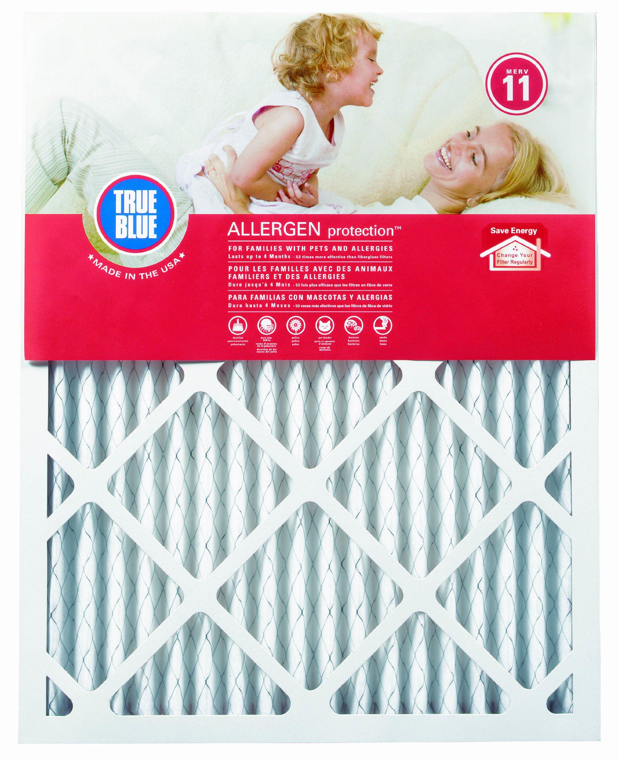 True Blue Allergen 20x36x1 Air Filter , MERV 11, 4-Pack by True Blue (Image #1)