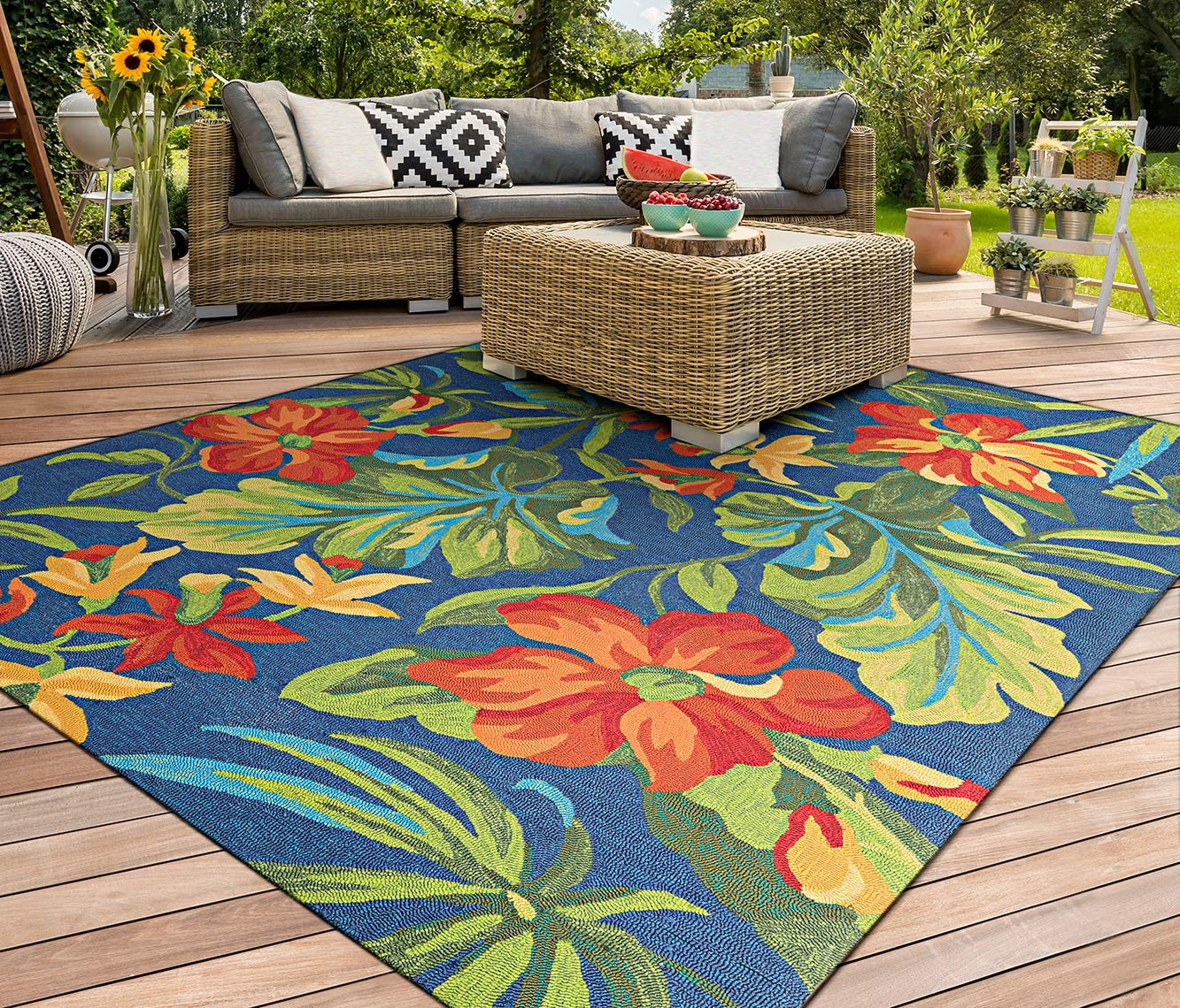 Couristan Covington Tropical Orchid Azure-Forest Green-Red Indoor Outdoor Area Rug, 8 x 11