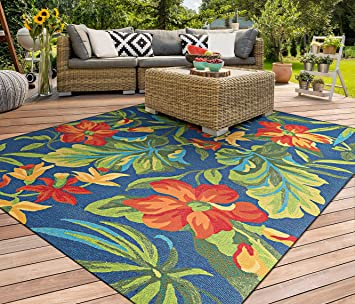 Amazon Com Couristan Covington Tropical Orchid Indoor Outdoor Area Rug 3 6 X 5 6 Azure Forest Green Red Furniture Decor