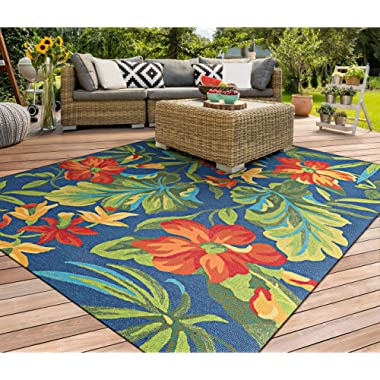 Couristan Covington Tropical Orchid Indoor/Outdoor Area Rug, 3'6  x 5'6 , Azure/Forest Green/Red
