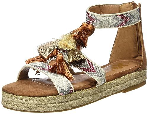 XTI 046902, Sandalias con Correa de Tobillo para Mujer, Hueso (Camel), 38 EU