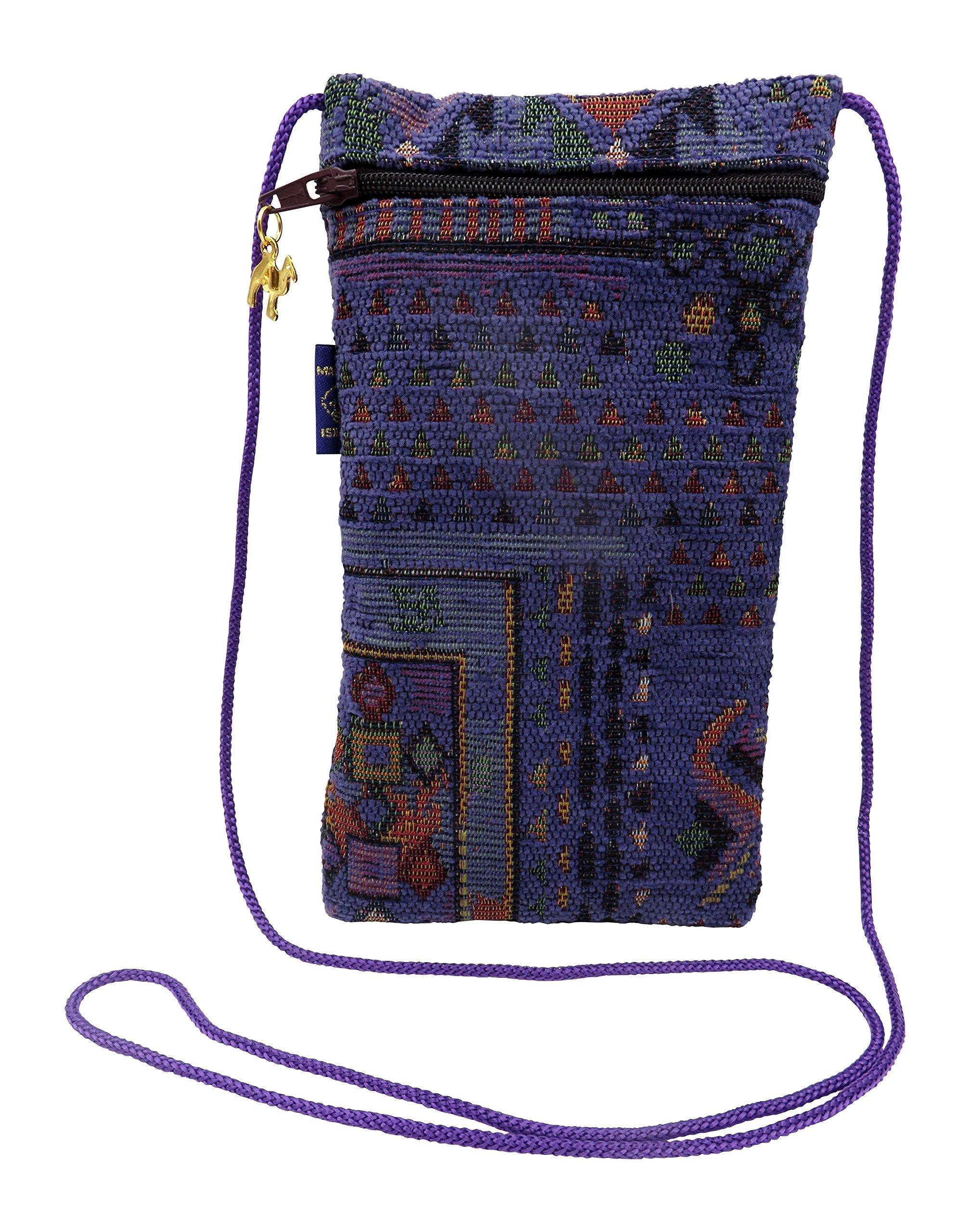 Mini Crossbody Bag Ethnic Sunglass Pouch & Eyeglass Pouch with zipper Cellphone Case Passport Holder Medium To Oversized Frames Woven Handmade (Purple)