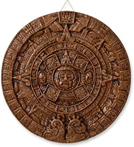 NOVICA Archaeological Advent Calendar Ceramic Plaque, Brown, Brown Aztec Calendar'