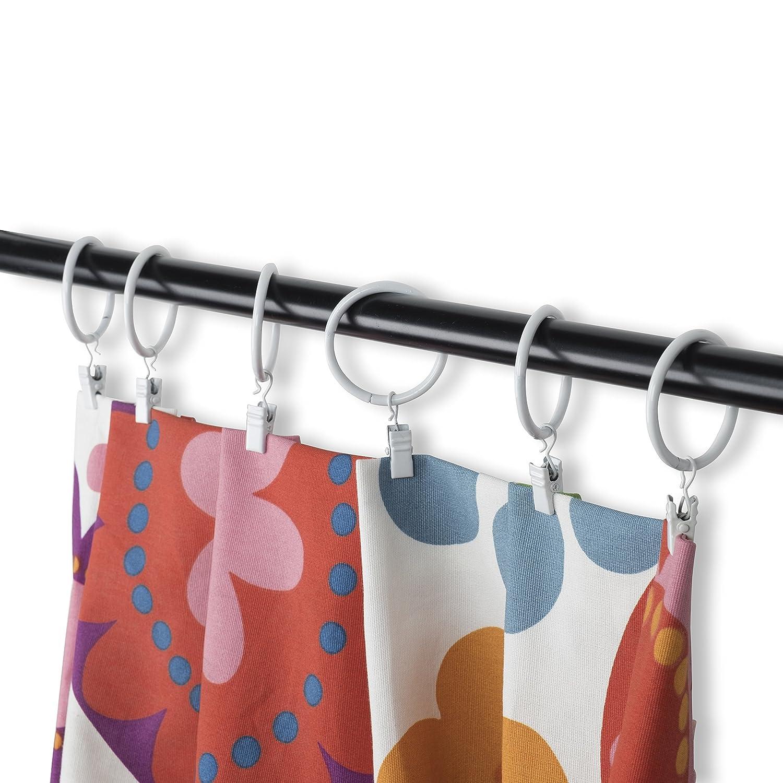 Set of 14, R&H Premium Decorative Medallion Curtain Rings Coated Iron Metal 1.5 inch 14pcs (White) Rack & Hook CHN139