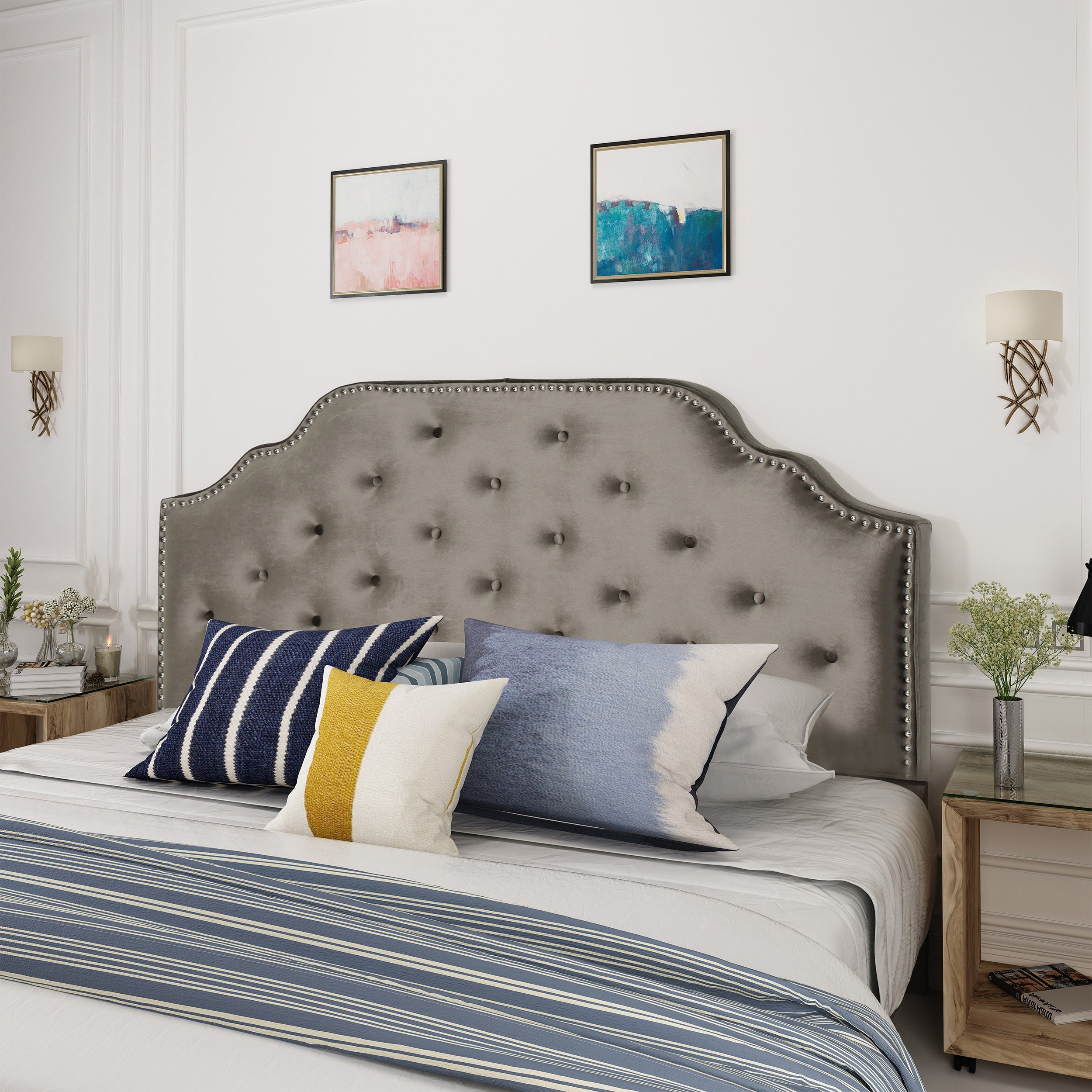 Falcon Glam Velvet Full/Queen Headboard, Gray and Black