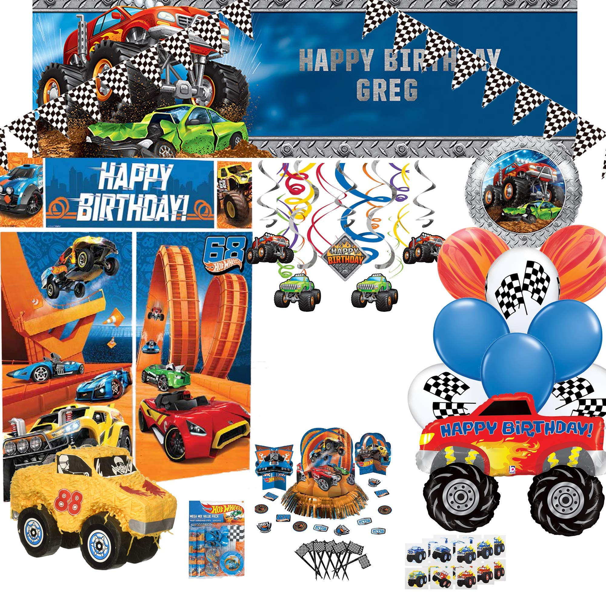 Monster Truck Pinata and Hot Wheels Birthday Party Decoration Pack with Balloons, Favors, eBook|S2