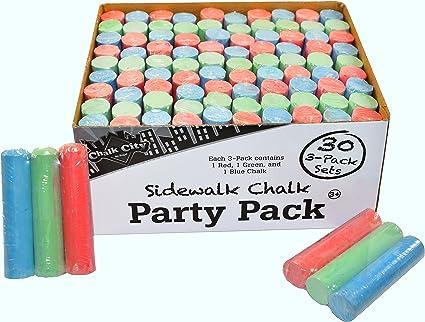 Chalk City – Paquete de fiesta tiza 30 Jumbo – Pack de 3 juegos de tizas multicolor para regalos de fiesta (90 tizas en total): Amazon.es: Oficina y papelería