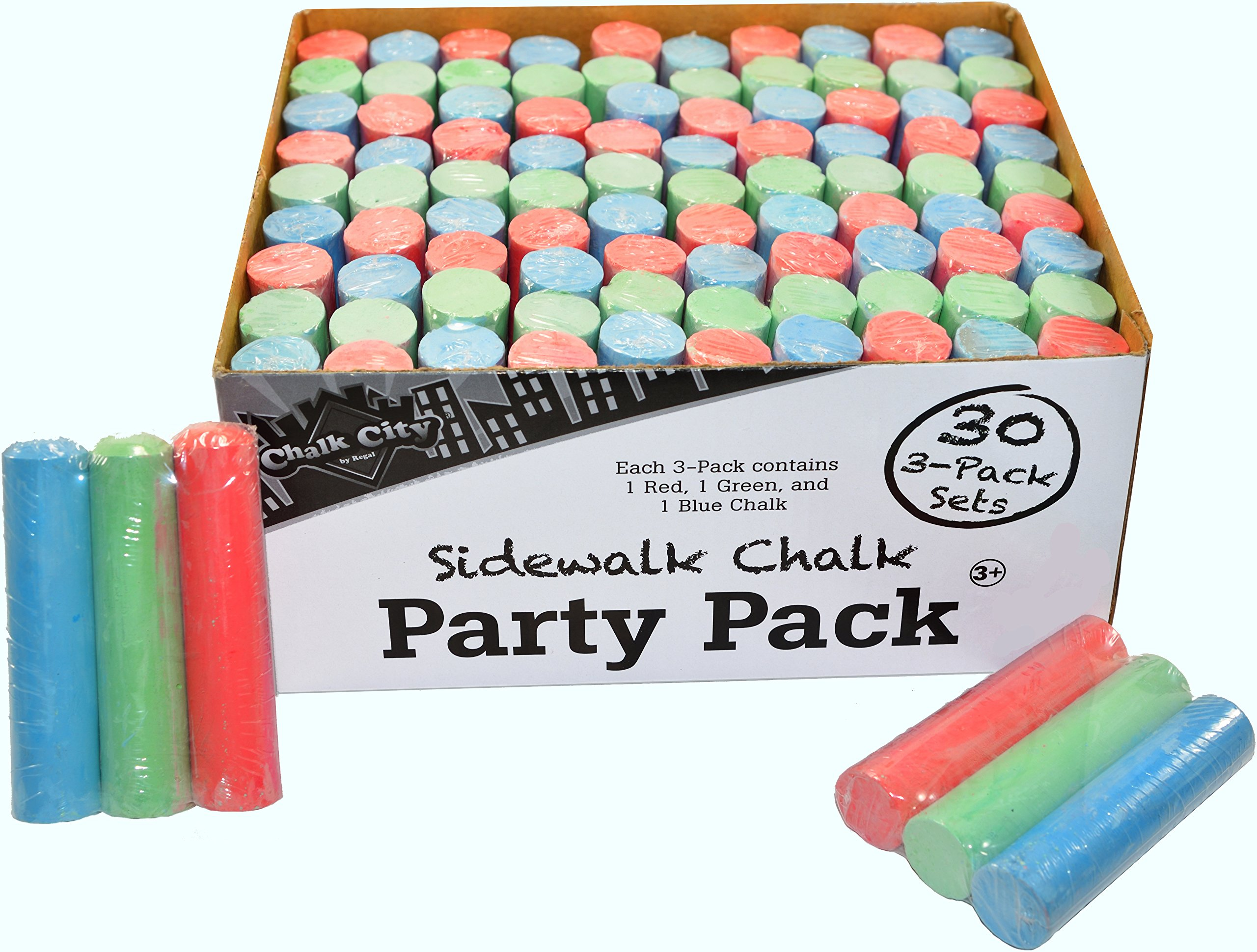 Chalk City - Party Pack Sidewalk Chalk 30 Jumbo 3 -Pack Sets of MultiColor Sidewalk Chalk for Party Favors (90 Chalks Total) by Chalk City
