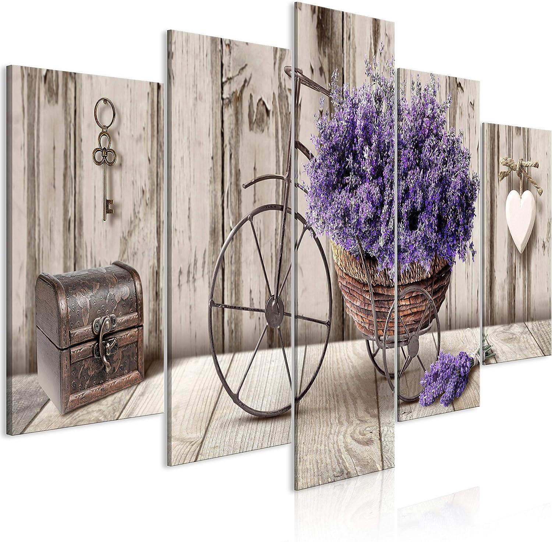 murando Cuadro en Lienzo Flores 200x100 cm 5 Partes Impresión en Material Tejido no Tejido Impresión Artística Imagen Gráfica Decoracion de Pared Lavender Madera Corazon Bicicleta b-C-0644-b-m