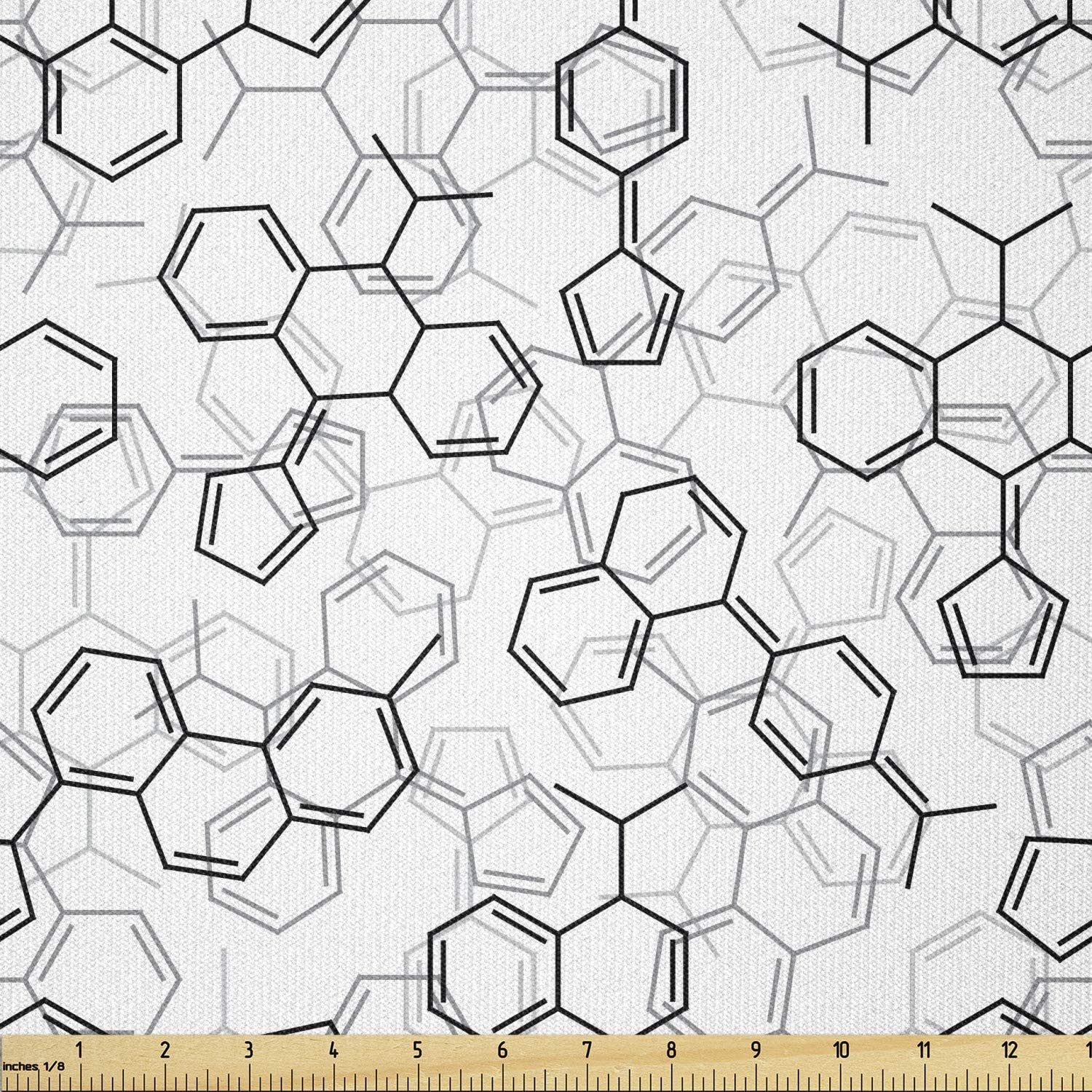 Lunarable Science Fabric by The Yard, Monochrome Arrangement of Complex Microscopic Structures Chemistry Theme, Stretch Knit Fabric for Clothing Sewing and Arts Crafts, 3 Yards, Black White