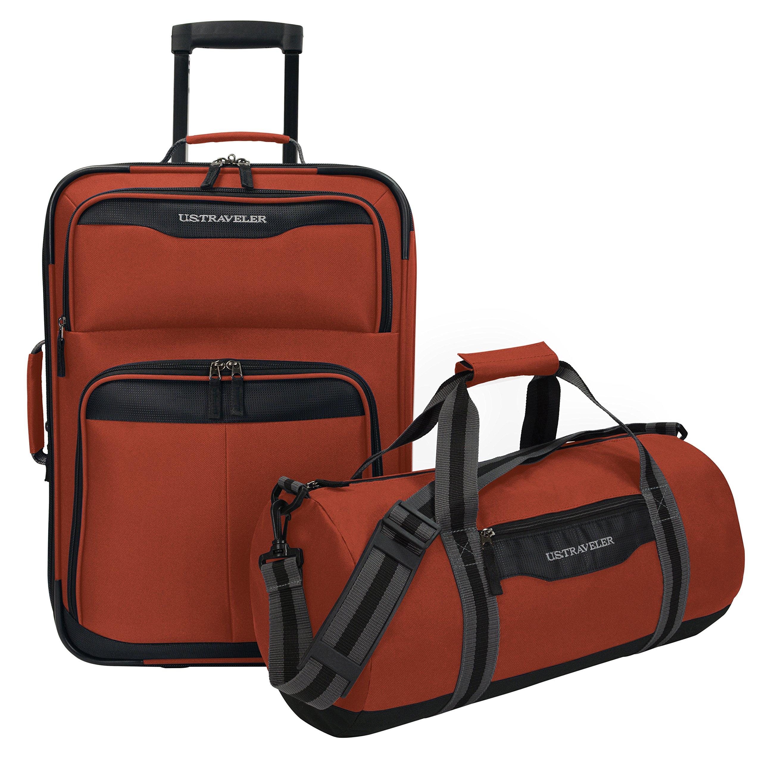 U.S. Traveler Hillstar Carry-on Expandable Rolling Luggage Set, Salmon