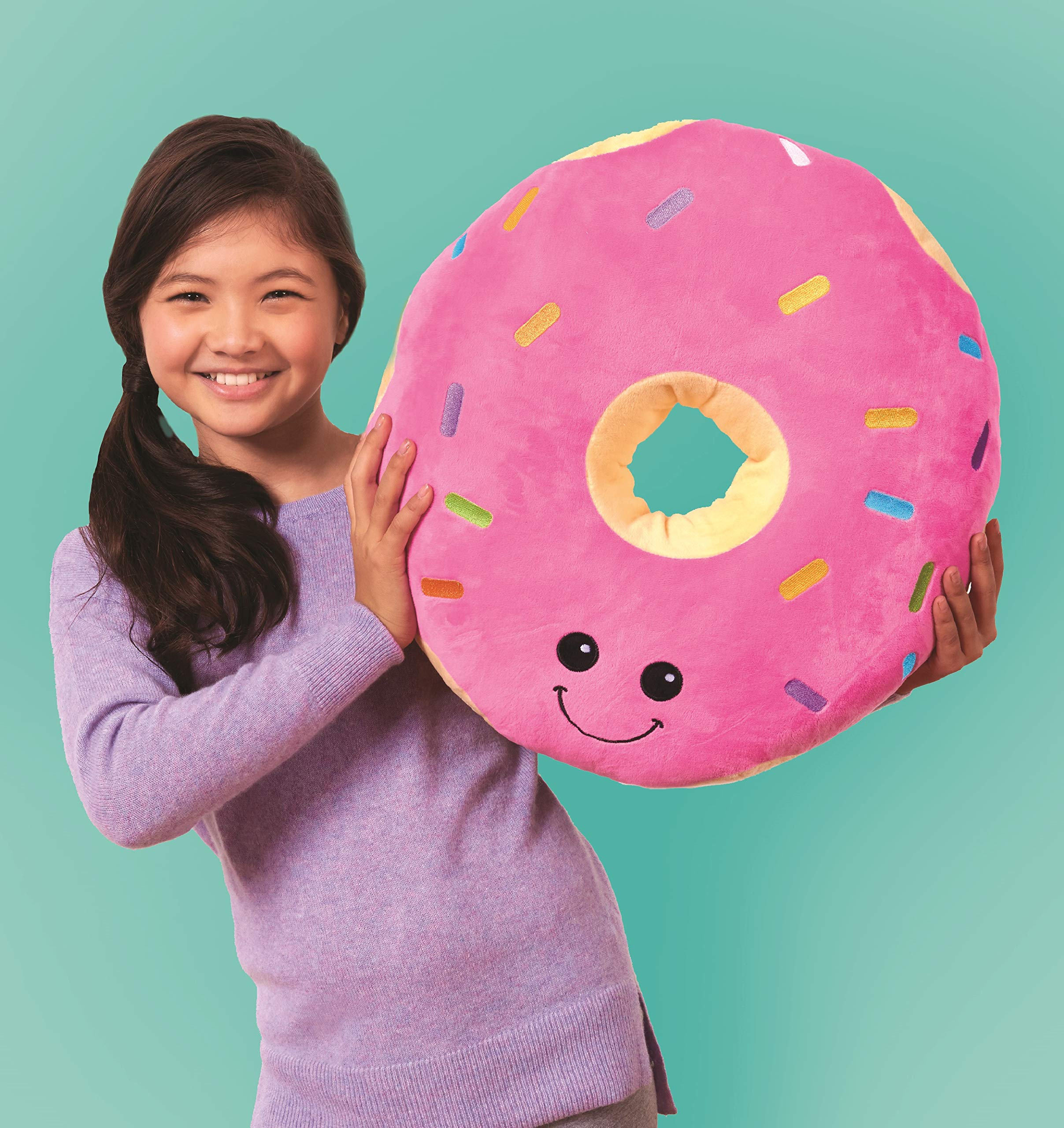 iscream Vanilla Scented Kawaii Darling Donut Embroidered Accent 15'' x 15'' Fleece Pillow by iscream
