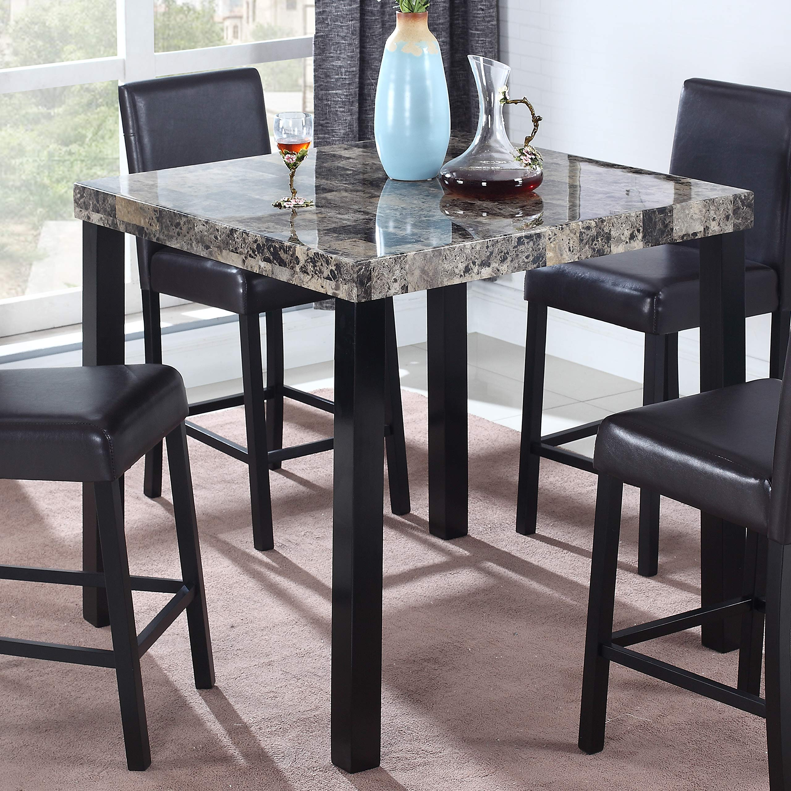 Best Master Furniture Britney Transitional Faux Marble Top Counter Table, Espresso Finish by Best Master Furniture