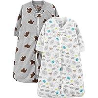Baby 2-Pack Microfleece Long-Sleeve Sleepbag, Animals/Heather Grey Bear, 6-9 Months