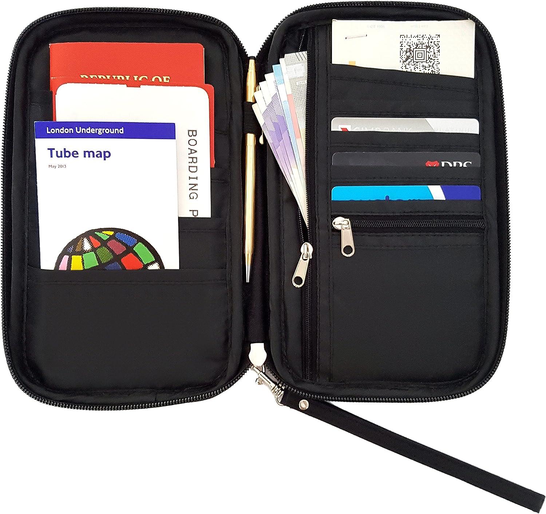 Cartera de Viajero de Roomi Space. ¡Obtenga esta cartera de pasaporte para viaje elegante & multi-funcional para tener una experiencia de viaje segura, cómoda & inteligente! (Black): Amazon.es: Equipaje