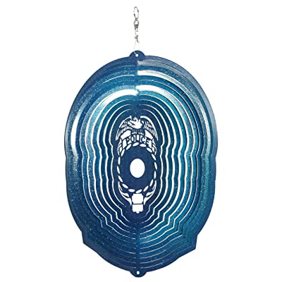 SWEN Products Police Circle Swirly Metal Wind Spinner : Garden & Outdoor