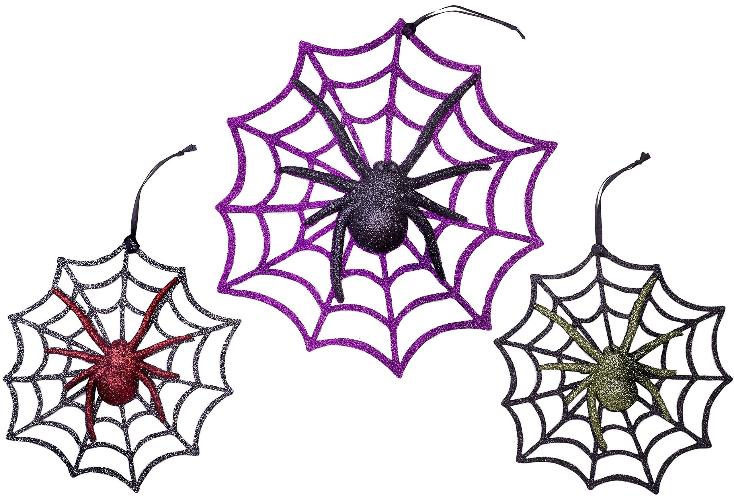 Christmas Traditions 11 inch + 8 inch Glittered Halloween Decorations for Door/Windows/ Wall Spider with Web Party Supplies Ornaments (set of 3)