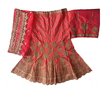BB Fashion Women's Raw Silk Lehenga Choli (BBFH-12, Peach, Free Size) Ethnic Wear at amazon
