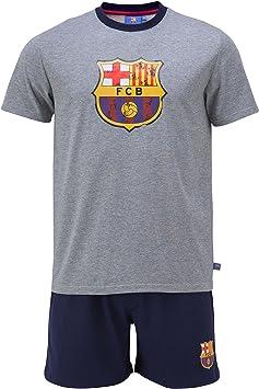 FC Barcelona - Pijama oficial de camiseta y pantalones cortos para hombre adulto, diseño del FC Barcelona