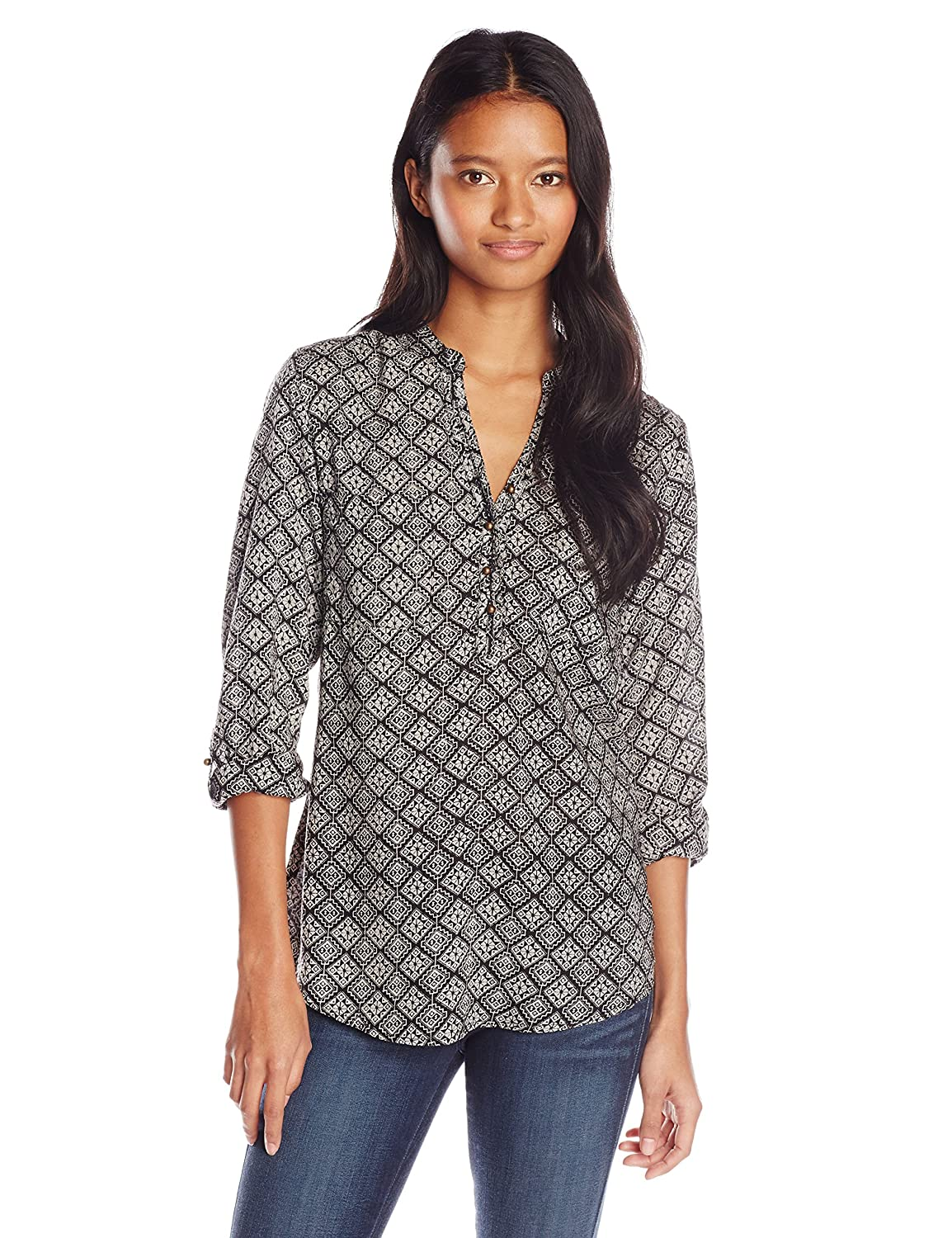 Angie Juniors' Printed Long-Sleeve Top with Buttons X2867-FJ72