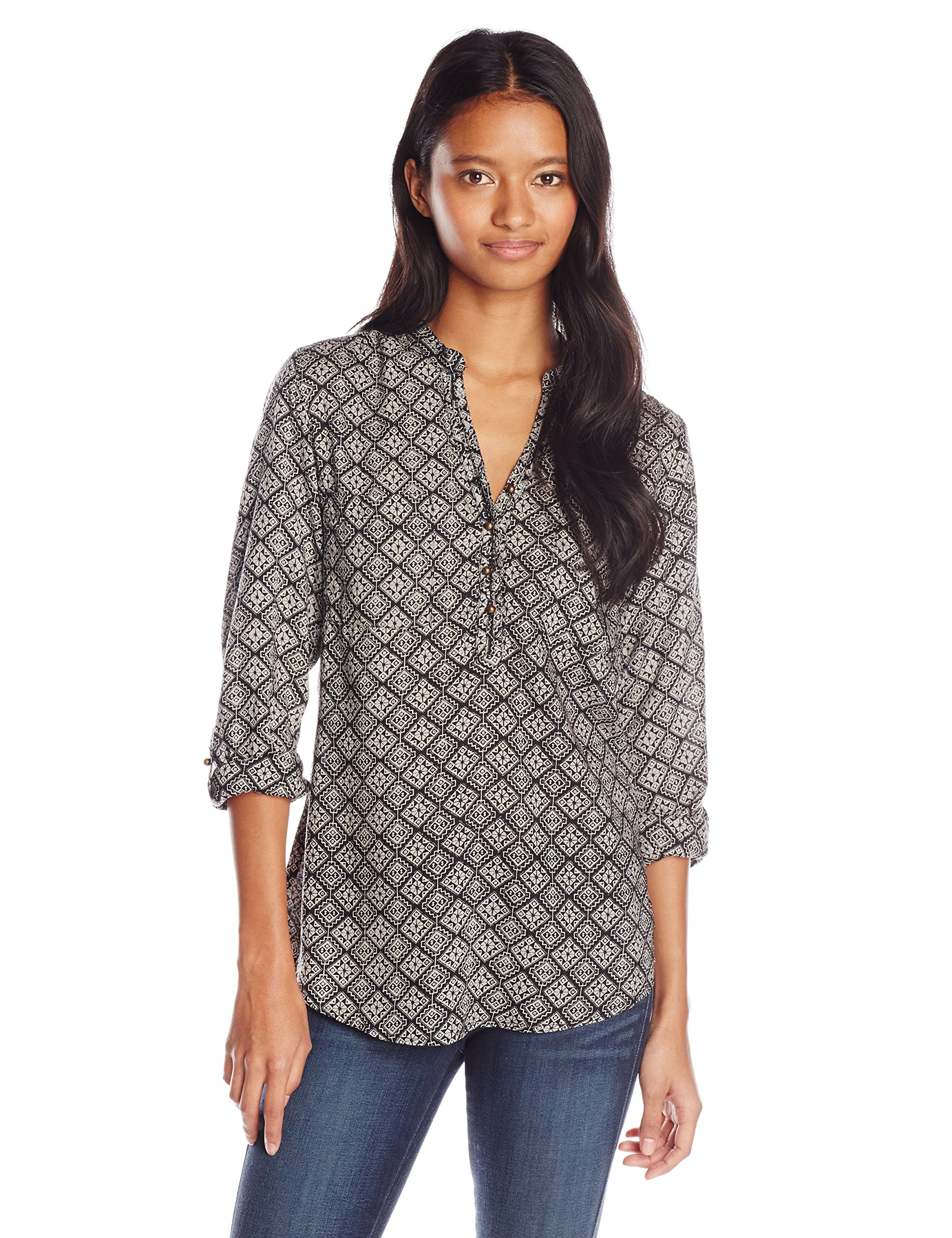 Angie Junior's Printed Long Sleeve Top with Buttons, Black, Small