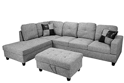 Amazing Amazon Com Beverly Fine Furniture Sectional F118A Gray Alphanode Cool Chair Designs And Ideas Alphanodeonline