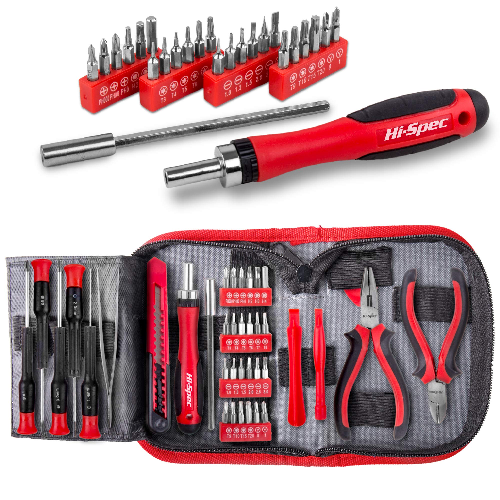 Hi-Spec 38 pcs Electronics Repair Tool Kit - Magnetic Precision Ratcheting Screwdriver & Phillips, Slotted, Torx, Hex and Triwing/Head Bits Set, Lose Nose & Diagonal Pliers, Tweezers Pry Bar in Case by Hi-Spec