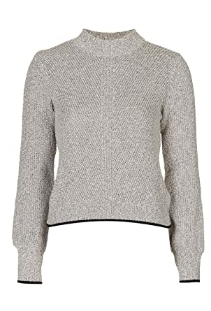 Ex TopShop Chnuky Textured Knit Grey Turtle Neck Crop Jumper (UK 16)   Amazon.co.uk  Clothing fd638314c