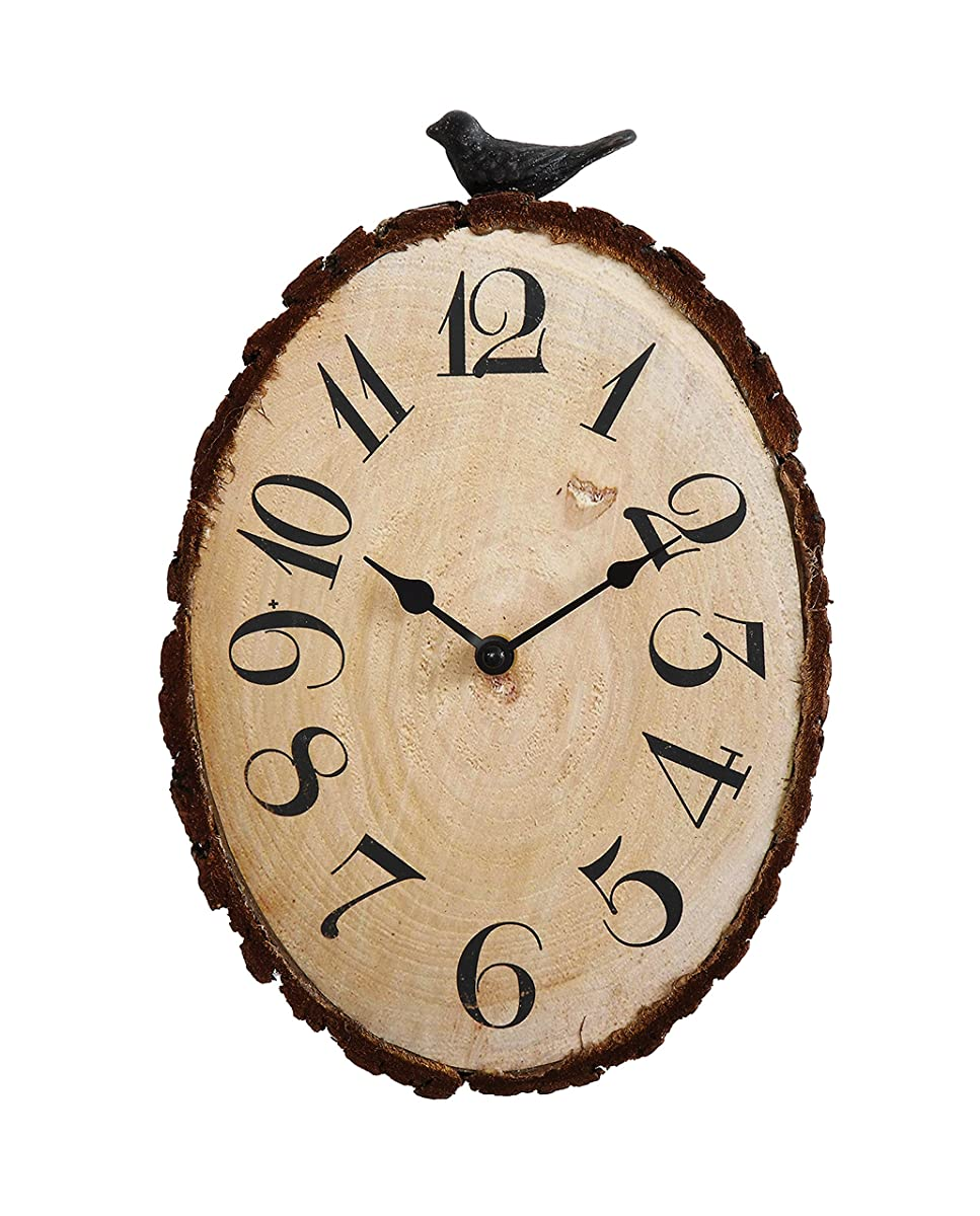 Creative Co-op Secret Garden Fir Wood Slice Wall Clock Bird, 4 Piece
