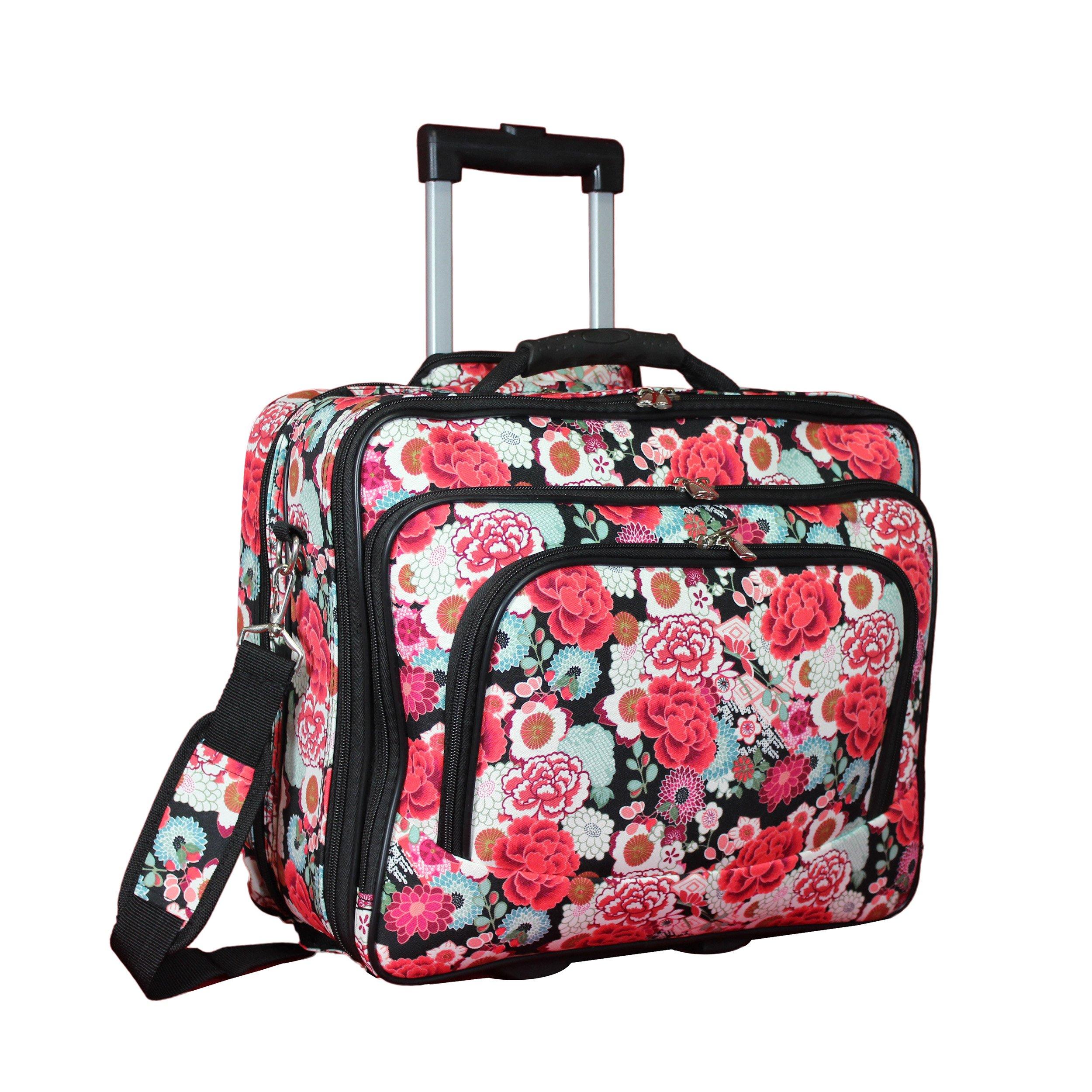 World Traveler Women's Fashion Print Rolling 17'' Laptop Case-Flowers Bag, One Size