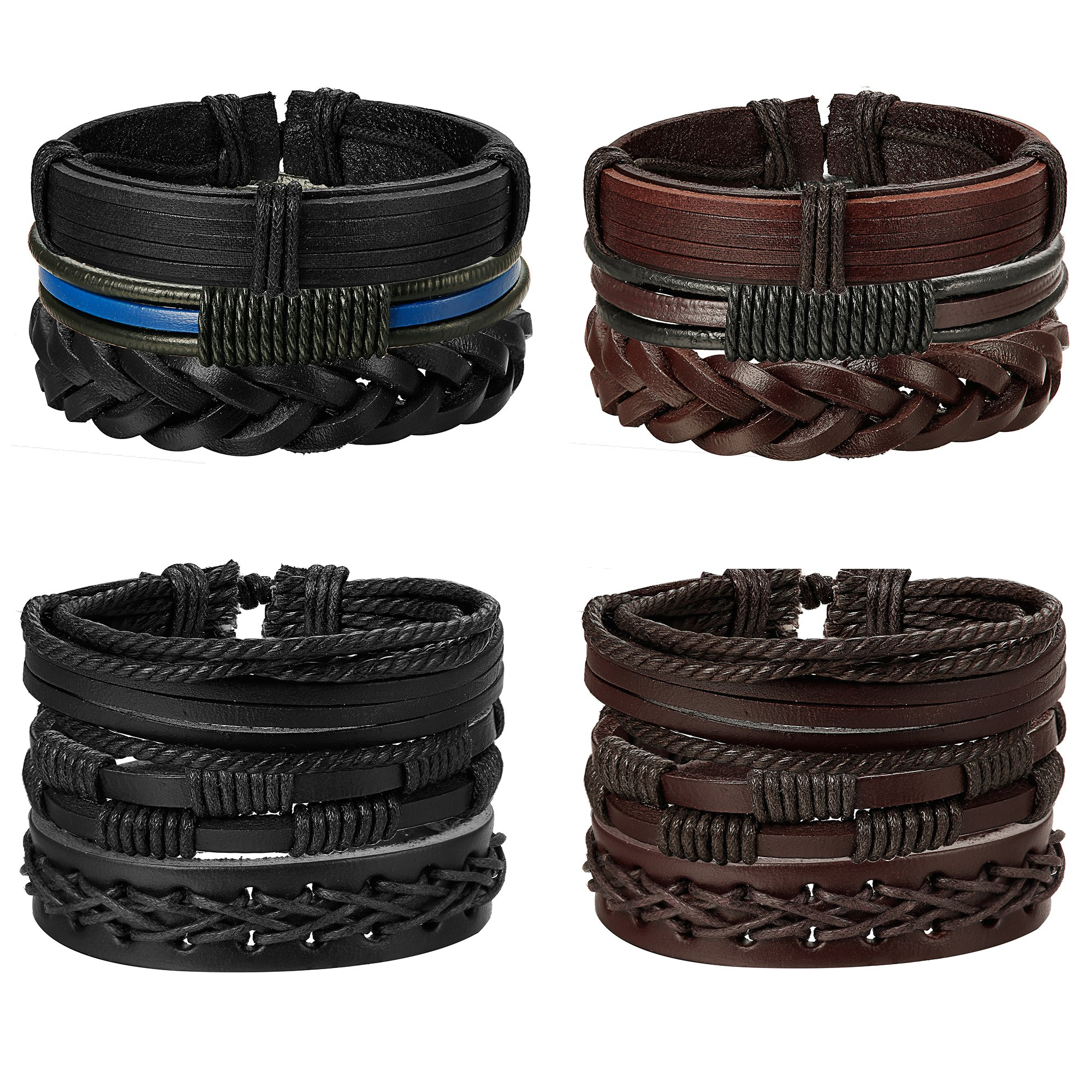 Jstyle 12Pcs Braided Leather Bracelet for Men Women Cuff Wrap Bracelet Adjustable Black and Brown (A:12Pcs) by Jstyle (Image #2)