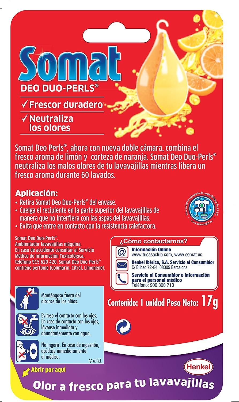 Somat Lavavajillas Ambientador Deo-Duo Perls - 60 Lavados: Amazon ...