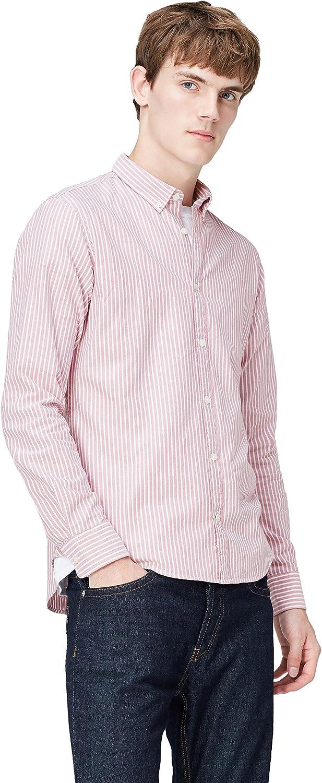 T-Shirts Camisa de Rayas Entallada con Cuello /Óxford para Hombre