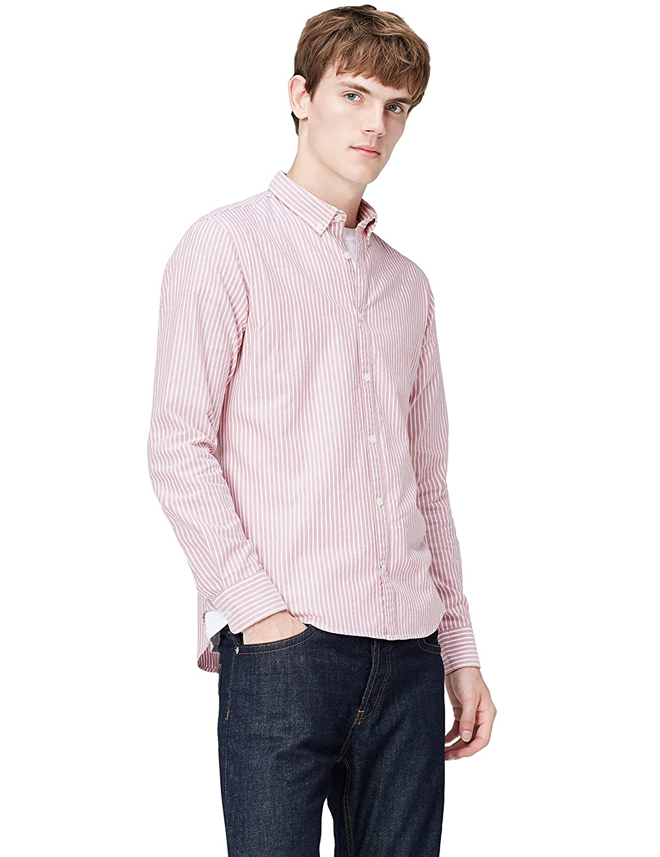 T-Shirts Camisa de Rayas Entallada con Cuello Óxford para Hombre