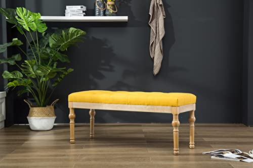 Roundhill Furniture Habit Solid Wood Button Tufted Dining Bench, Yellow