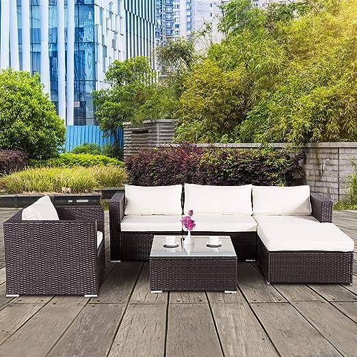 Yardwind muebles de patio de 6 piezas de mimbre para ...