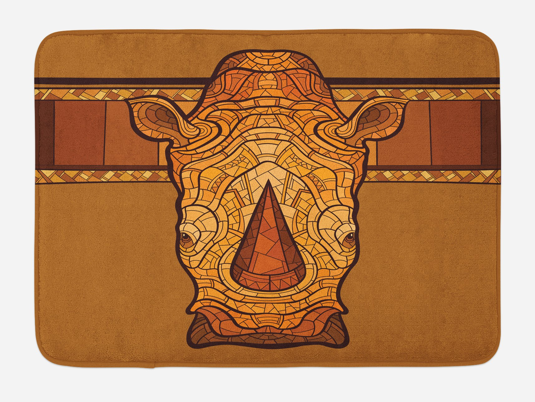 Lunarable Animal Bath Mat, Vector Illustration of a Rhinoceros Head with an Ethnic Ornament Print, Plush Bathroom Decor Mat with Non Slip Backing, 29.5 W X 17.5 W Inches, Cinnamon Pale Coffee