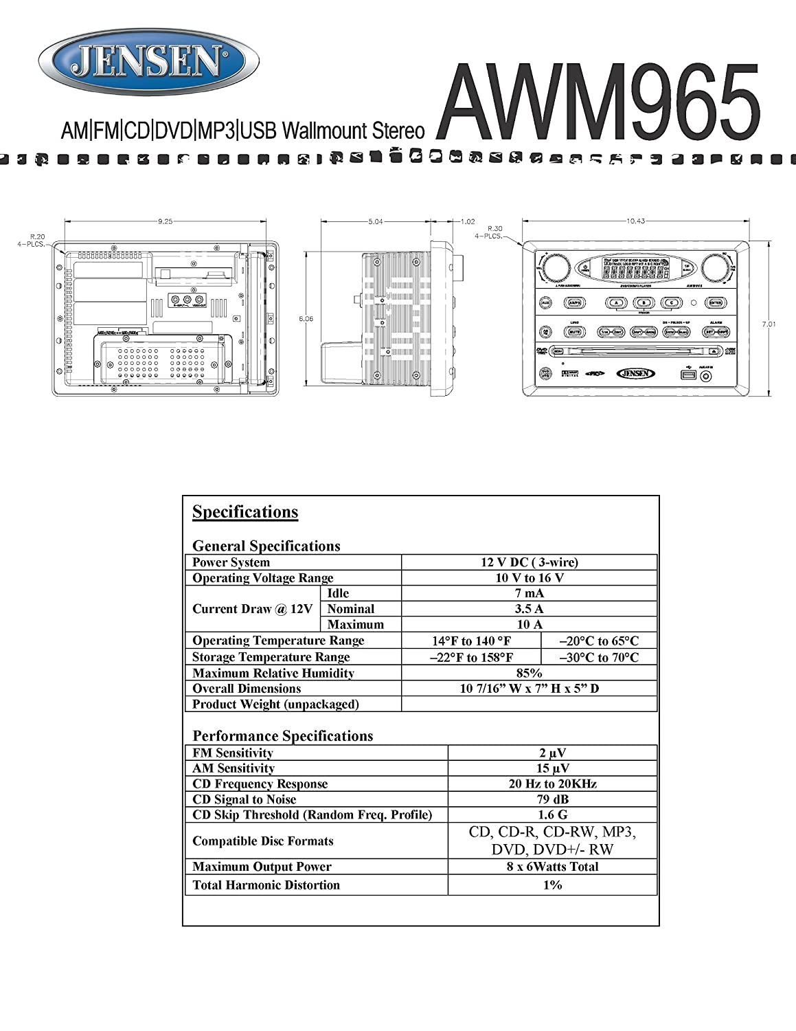 0AD Jensen Dvd Player With Radio Wiring Diagram | Wiring ResourcesWiring Resources