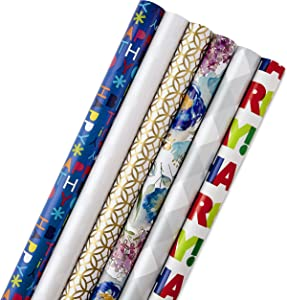 Hallmark 5JXW1745 All Occasion Wrapping Paper Bundle with Cut Lines on Reverse (Pack of 6, 180 sq. ft. ttl.) Happy Birthday, Polka Dots, Holidays, Weddings and Everyday Celebrations