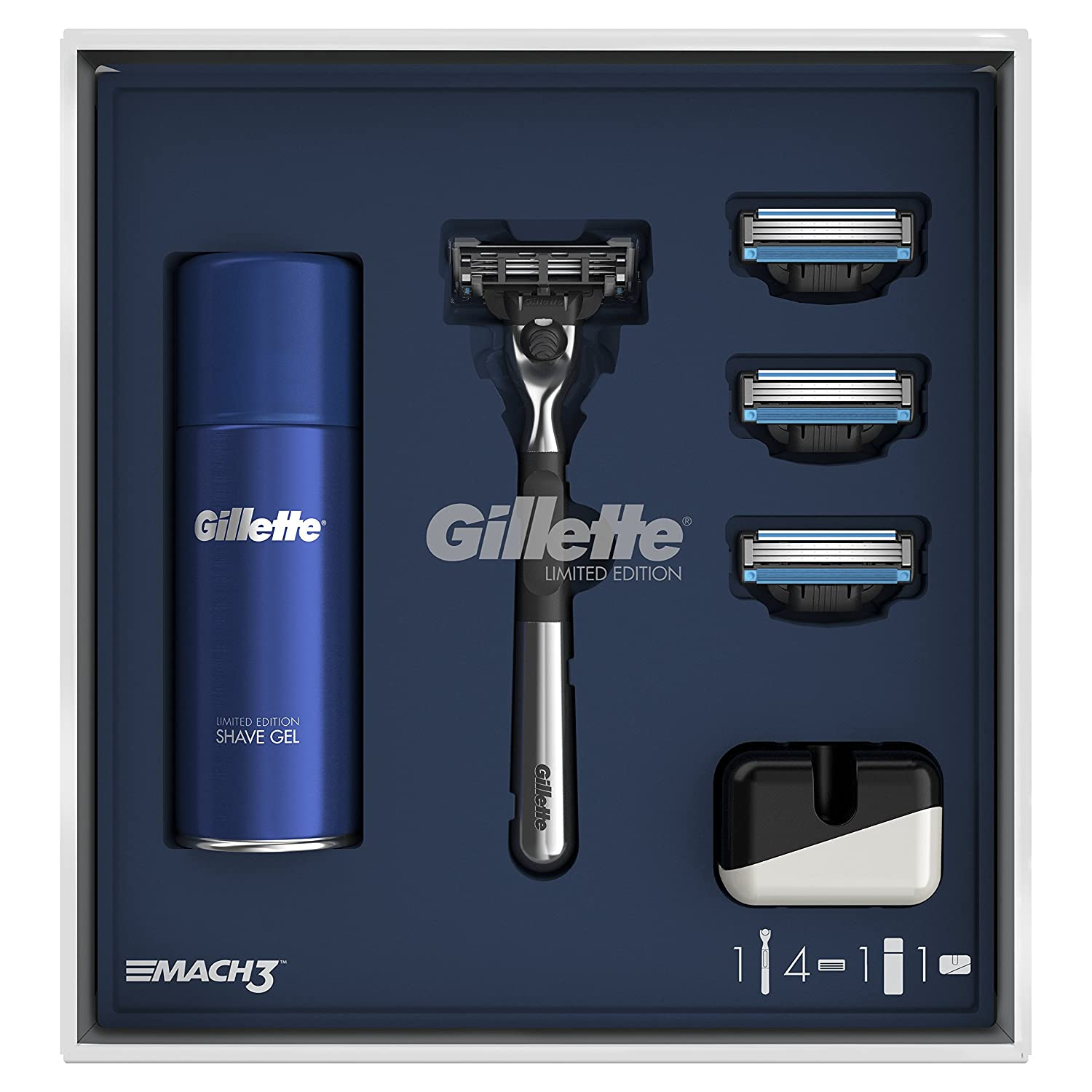 Gillette Mach3 Razor Limited Edition Gift Pack with Chrome Handle Razor, 3 Additional Blade Refills, Shaving Gel + Razor Stand Procter & Gamble 7702018482313