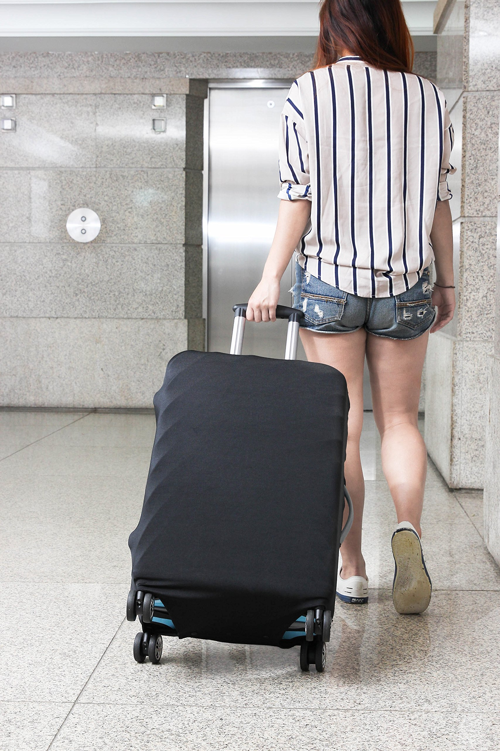 Travel Luggage Protective Cover - Stretchable Suitcase Protector Case, Black, 26 Inches by Juvale (Image #6)
